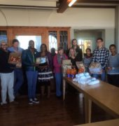 Photograph of Umvoto Africa's team ready deliver the food and drinks to The Haven Shelter in Kalk Bay.
