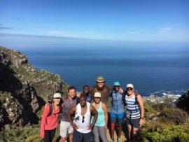 Umvoto team hiking up Kasteelspoort trail (left to right: Camille Olianti, Paul Lee, Mlamli Vundla, Msizi Cindi, Magen Munnik, Dylan Blake, Lunka Nolakana and Eddie Wise)