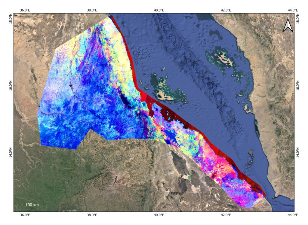 False colour composite (FCC) of Eritrea constructed using Sentinel-2 bands 12, 11, 8, 4, 3. By comparing the FCC to the true colour base image, the usefulness of FCC imagery in assisting in identifying different landscape features become evident – although it does take while to adjust to a FCC world.